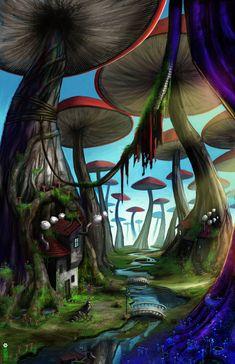 paintings landscapes forest houses mushrooms illustrations fantasy art dwarfs digital art artwork d Fantasy Art Landscapes, Fantasy Landscape, Landscape Paintings, Landscape Pictures, Psychedelic Art, Forest Drawing, Mushroom Art, Mushroom Drawing, Mushroom House