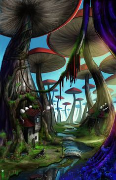 The Mushroom Forest -- Rather than having Alice walk through the garden of flowers, I would like her to walk through this forest of mushrooms to see its beauty and the different creatures/insects living here; such as the small rivers, the mini houses, and the cute, tiny bridges. This setting is also a twist to the original Alice in Wonderland story, in which Alice is walking through a beautiful garden of flowers.