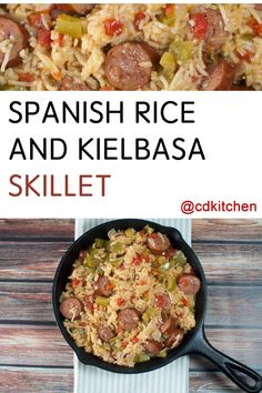 Dress up a box of Spanish rice mix with this easy recipe. Simply add extra veggies and kielbasa and the rice mix takes the guesswork out of balancing the seasonings. The result is a delicious one-dish dinner in under 30 minutes. Kielbasa, Sausage Recipes, Casserole Recipes, Kitchen Recipes, Cooking Recipes, Cooking Pork Roast, Rice A Roni, Chili, Spanish Rice Recipe
