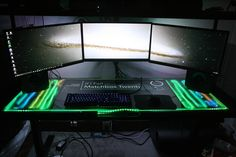 This guy's homemade desk is out of control HQ Photos) Gaming Room Setup, Pc Setup, Computer Setup, Office Setup, Desk Setup, Gaming Computer, Computer Case, Gaming Rooms, Computer Repair