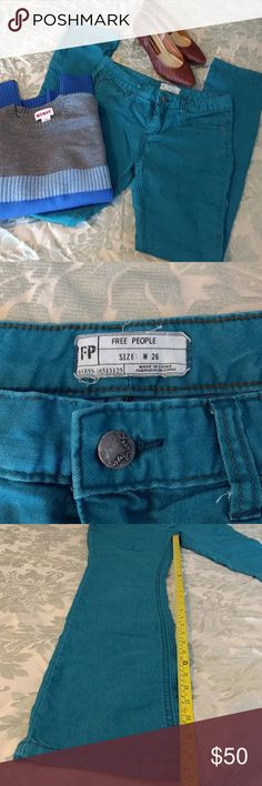 """Teal Free People Jeans Awesome jeans but there are some similar spots on both legs. Not sure where they came from, could have purchased this way. Still an awesome color and would make great shorts if no takers! 31"""" inseam. Free People Jeans Skinny"""