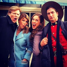 Professional actors on set. @erinkrakow @loriloughlin @jackwagnerhpk @hallmarkchannel #WhenCallsTheHeart