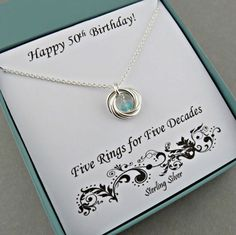 50th Birthday Gift for Women Sterling Silver Birthstone Necklace Love Knot Necklace marciahdesigns Minimalist, handmade jewelry