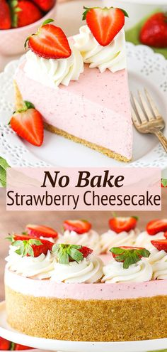 This easy No Bake Strawberry Cheesecake recipe is full of strawberry flavor! Made with gelatin and cooked strawberries, it has a thick and creamy texture that makes it a totally irresistible cheesecake. The perfect strawberry dessert for spring and summer! Easy Strawberry Desserts, Strawberry Cheesecake, Cheesecake Desserts, No Bake Desserts, Delicious Desserts, Best Cheesecake, Pumpkin Cheesecake, Mini Desserts, Fall Desserts