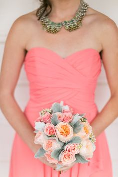 pink and coral garden rose bouquet | Photo by Chris + Jenn Photos