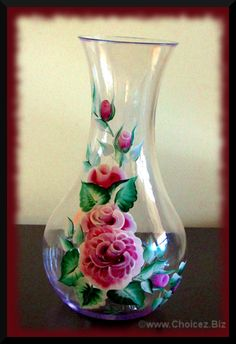 "Plastic 48 oz Vase or Wine decanter, 9.5"" tall painted in enamel paint for durability! - $35 plus shipping - mail@choicez.biz for more information"