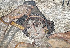 "[TURKEY.EAST 29269] 'Hippolyte, Amazon in Byzantine mosaic in Urfa.'  	Wearing a Phrygian cap, the Amazon Hippolyte (a warrior queen in Greek Mythology) is brandishing her sword in a mosaic floor that depicts a hunting scene. The 5/6 th century mosaic can be found in the ""Villa of the Amazons"", a palatial house, that probably belonged to an important administrator of the Eastern Roman (Byzantine) Empire, who lived in Edessa (nowadays called Urfa). The remains of the villa were discovered in…"