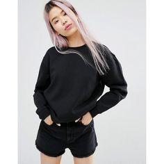 Monki Oversized Sweat Top ($33) ❤ liked on Polyvore featuring tops, hoodies, sweatshirts, black, crew neck top, cotton sweatshirts, monki, oversized sweatshirts and crew-neck sweatshirts