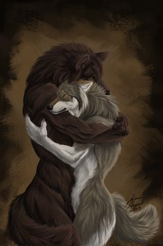 Hug by Atan There you see what the heat of the last few days did to my brain. Now I'm drawing hugging werewolves instead of ones that eat people. Was a nice fur practice anyway and I still suck at using colors, meh  That's supposed to be a male and a female. My female werewolves do not have boobs (if she had any, they'd be showing above her arm, I suppose). I think it would be really uncomfortable to run on four legs with two wobbly balls of fat on the front.