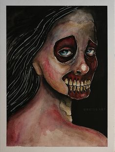 from the seriess of anatomical paintings ©MWeissArt 2018 watercolors on c m acid free paper some of my artworks availab. Free Paper, Traditional Art, Decay, Halloween Face Makeup, Deviantart, Watercolor, Skulls, Artwork, Painting