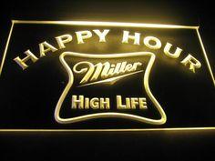 Happy Hour Miller High Life Bar Light Sign Neon