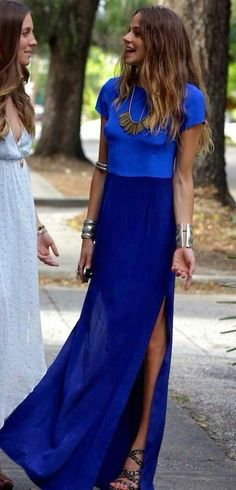 Blue Maxi Dress -- 60 Haute Spring Outfits @styleestate
