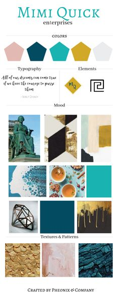 Teal and yellow mood board for bright and cheerful brands and businesses. Logo Branding, Branding Design, Branding Ideas, Business Branding, Brand Identity, Teal Yellow, Teal Colors, Color Inspiration, Brand Inspiration