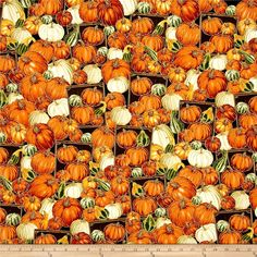Timeless Treasures Autumn Bounty Metallic Pumpkins And Gourds Pumpkin from @fabricdotcom  From Timeless Treasures, this cotton print fabric features overflowing crates of pumpkins ripe for the taking and perfect for jack-o-lanterns! Perfect for quilting, apparel and home decor accents. Colors include brown, light brown, metallic gold, shades of orange, tan, cream, taupe, white and shades of green.