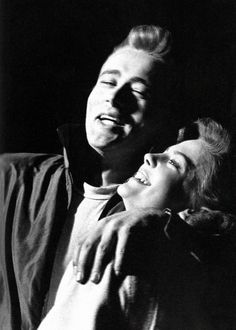 A candid shot of James Dean and Natalie Wood on the set of Rebel Without a Cause, 1955.