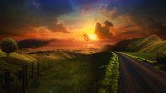 Mysterious Road, beautiful, clouds, fields, grass, green, hills, nature, ... Beautiful Sunset, Beautiful Places, Beautiful Pictures, Beautiful Scenery, Nature Pictures, Beautiful People, Beautiful Landscape Wallpaper, Beautiful Landscapes, Sunset Wallpaper