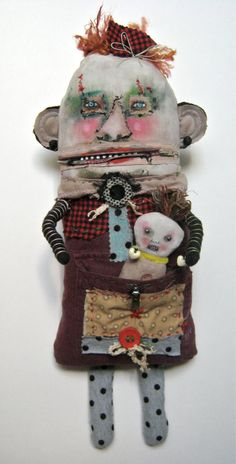 Monster art doll, baby monster in pocket , art doll by sandymastroni { etsy }