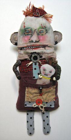 Monster art doll, baby monster in pocket , art doll by sandymastroni { etsy }