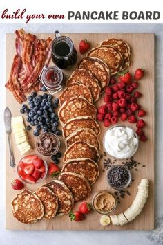"""This fun and creative """"build your own"""" pancake board with all the toppings is perfect for breakfast, brunch, and even brinner! This fun and creative """"build your own"""" pancake board with all the toppings is perfect for breakfast, brunch, and even brinner! Brunch Recipes, Breakfast Recipes, Pancake Breakfast, Brunch Ideas, Toast Ideas, Breakfast Platter, Breakfast And Brunch, Picnic Ideas, Breakfast Buffet"""