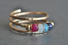 Custom Mothers FAMILY BIRTHSTONE ring, 14K gold filled, genuine gemstones -- up to 5 stones plus 2 side beads