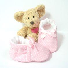 Chaussons bébé coton rose clair à pois doublés polaire taille 3/6 mois,cheville élastique Tricotmuse : Mode Bébé par tricotmuse