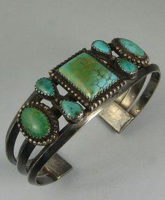 Stunning Navajo 7 Natural Turquoise Cluster Bracelet