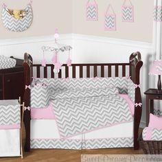 Zig Zag Pink and Gray 9 Piece Baby Girl Crib Bedding Set
