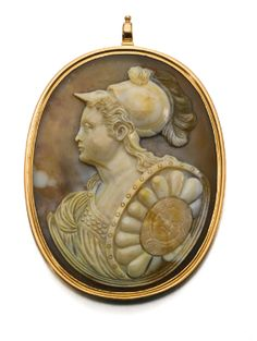 A Russian agate cameo of Empress Catherine II as Minerva, c.1780; her armour and aegis identifies her as the Roman goddess of the goddess of wisdom and the arts. (Sothebys)
