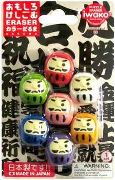 Iwako Daruma Japanese Doll Kawaii Eraser Set http://shop.kawaiidepot.com