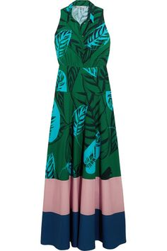 Borgo De Nor - Paloma Printed Cotton-gabardine Maxi Dress - Green - UK
