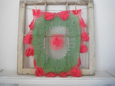 large doily tablecloth doily bright pink and green by ShabbyRoad, $12.50