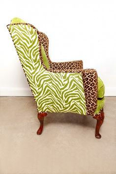 Green Wingback Leopard Zebra Chair