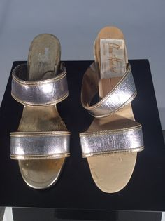 1970s Claire Haddad metallic sandals