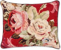 Decorative Throw Pillows|Roses on Red Needlepoint Pillow|Floral Pillows