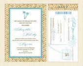 Hibiscus Hawaiian Wedding Invitation and Boarding Pass RSVP Set - Printable Invitation - Beach Wedding Invitation. $35.00, via Etsy.