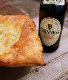 Steak and Guinness Pie - savory beef stew with Guinness, cooked until the whole house smells divine, then tucked into puff pastry and baked? Well yes!  I had to cook in the oven for about an hour longer (no big deal...doesn't need any tending), and I layered the cheddar cheese onto the stew before the top pastry, rather than stirring it in. My Irish mother-in-law went crazy over this!   djs