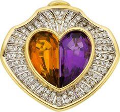 Amethyst, Citrine, Diamond, Gold Pendant-Brooch.