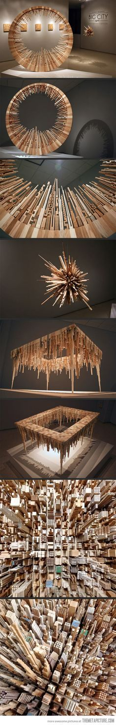 This would look great in my office. Awesome sculptures whittled from more than 5,000 pieces of scrap wood…