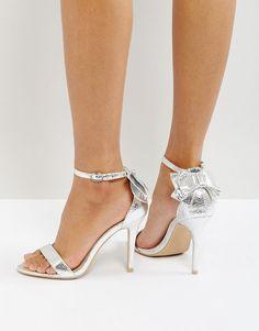 Glamorous Bow Back Silver Heeled Sandals