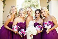Magenta bouquets with white and purple!