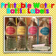 Back to School Printable Water Bottle Labels (freebie included in post for grades