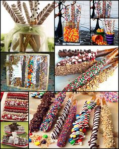 Tons of dipped pretzel ideas. These are perfect holiday treats for people. Use leftover Halloween candy as toppings for Christmas pretzels.