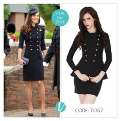 Military Details are this Season's must-have! Take a cue from th Duchess of Cambridge and step out in this Peplum Dress. Shop this by Product Code: 71757. #katemiddleton #celebritystyle #militarydetails #trending #peplumdress #divaat #premium #vilara