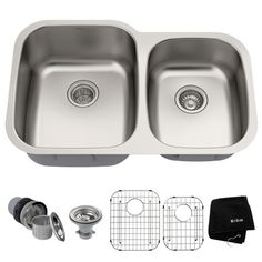 KRAUS Premier Undermount Stainless Steel 32 in. 60/40 Double Bowl Kitchen Sink-KBU24 - The Home Depot Double Bowl Kitchen Sink, Kitchen Sinks, Kitchen Redo, Kitchen Cabinets, Sink Strainer, Unique Centerpieces, Undermount Sink, Stainless Steel Kitchen, Sound Proofing