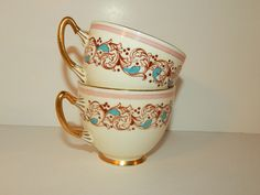 Adderly Pink, Aqua Blue, and Gold Teacups No Saucer Bone China Made in England #Adderly
