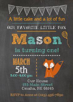 Fox Woodland Chalkboard Birthday Invitation by LoveBugPrintShop