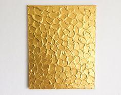 Goud Metallic schilderij goud Acryl schilderij, getextureerde schilderij, abstracte metalen kunst, goud schilderij, origineel abstracte kunst