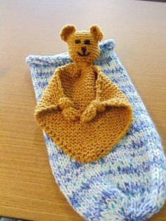 Bear blanket buddy & baby cocoon knit for baby Quinn. January 2012