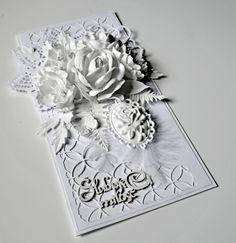 Tutorial scrapbooking - kartka ślubna w bieli z kwiatami z foamiranu - O...