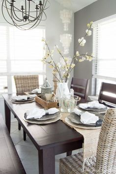 Coastal Farmhouse Table Setting - A beautiful dining room update with neutral rustic decor found at Pier 1! http://www.tableandhearth.com